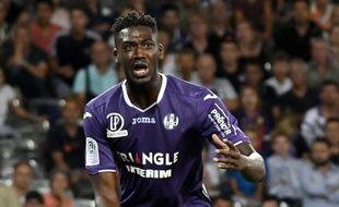 Yaya Sanogo, l'attaquant du TFC, lors du match de Ligue 1 contre Montpellier au Stadium de Toulouse, le 12 août 2017.