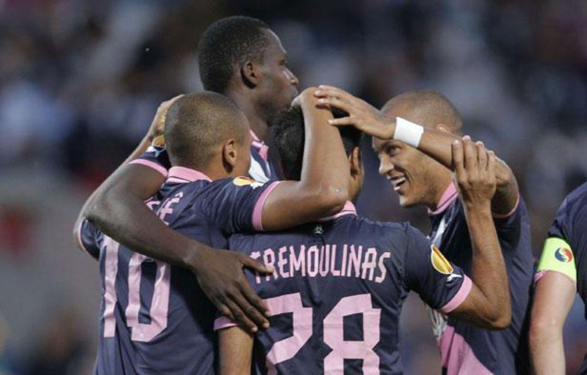Les Girondins célèbrent un but marqué face à Bruges lors de la victoire 4-0 en Ligue Europa, le 20 septembre 2012, à Bordeaux. – Christophe Ena/AP/SIPA