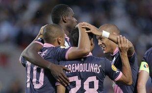 Les Girondins célèbrent un but marqué face à Bruges lors de la victoire 4-0 en Ligue Europa, le 20 septembre 2012, à Bordeaux.
