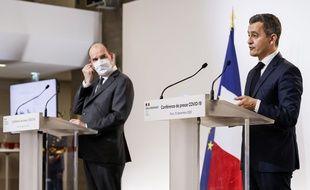 Jean Castex et Gérald Darmanin le 10 décembre 2020 lors de la conférence de presse sur la stratégie de déconfinement.