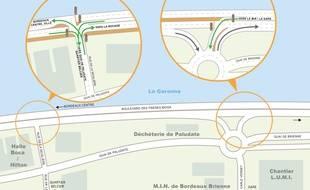 Le plan d'aménagement de deux nouveaux carrefours à feu, Boulevard des Frères Moga à Bordeaux.