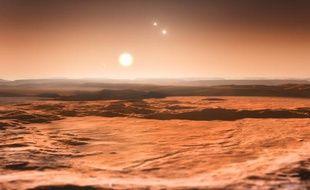 La planète Gliese 667C, avec son étoile principale et deux secondaires dans le ciel (vue d'artiste)