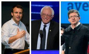 Emmanuel Macron, Bernie Sanders et Jean-Luc Mélenchon.