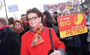 Christine Boutin participe à la manifestation anti-avortement à Paris le 19 janvier 2014