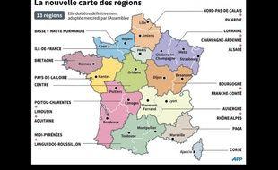 Carte redécoupage des régions.