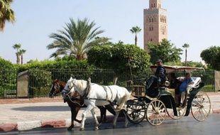 Une calèche pour touristes dans le quartier de la Koutoubia à Marrakech le 19 septembre 2012