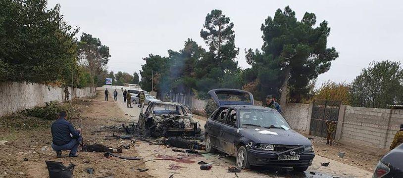Photo prise et publiée le 6 novembre 2019 par le ministère de l'Intérieur du Tadjikistan montrant le site de l'attentat au poste frontière d'Ishkobod.