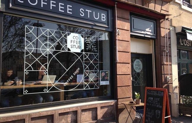 La charte graphique du Coffee Stub» à Strasbourg est inspirée par les maisons à colombages alsaciennes.