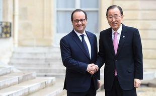 François Hollande et Ban Ki-moon à l'Elysée à la veille de l'ouverture de la COP21, le 29 novembre 2015.