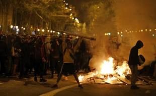 Les manifestations ont une nouvelle fois dégénéré à Barcelone, dans la nuit du 16 au 17 octobre 2019.