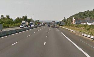 Capture d'écran Google Street View de l'autoroute A7.