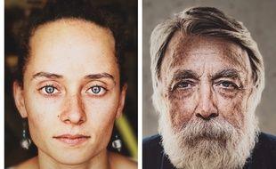 Deux portraits réalisés à l'aide d'une boîte de Big Mac et d'un iPhone.