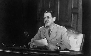 Charles de Gaulle, en avril 1946, lors d'un discours à la radio.