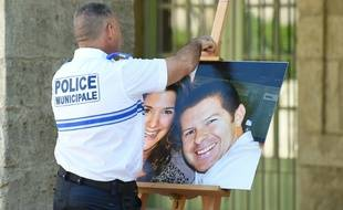 Une photo de Jean-Baptiste Salvaing et sa compagne Jessica Schneider lors de leurs obsèques le 20 juin 2016 à Pezenas