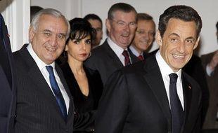Jean-Pierre Raffarin et Nicolas Sarkozy, le 18 mars 2011, à Paris.