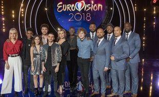 Les artistes participant à la première demi-finale de «Destination Eurovision»: (de g. à dr.) Ehla, Lisandro Cuxi, Enéa, Louka, Masoé, Noée, Emmy Liyana, Malo' et les Pheno Men.