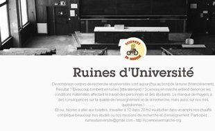 Capture d'écran du tumblr Ruines d'université