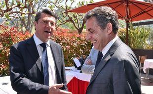 Christian Estrosi, député-maire UMP de Nice, et Nicolas Sarkozy, président de l'UMP, le 22 avril 2015 à Nice.