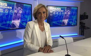 """Valérie Pécresse, présidente de la région Ile-de-France et candidate à la réélection, sur le plateau de BFM Paris pour """"Paris Politiques"""" en partenariat avec """"20 Minutes""""."""