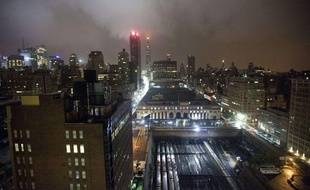 La ligne de gratte-ciels New York City, aux Etats-Unis, sous les trombes d'eau de l'ouragan Irene, dimanche 28 août 2011.