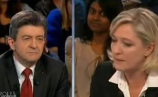 Jean-Luc Mélenchon et Marine Le Pen, dans l'émission «Des paroles et des actes» sur France 2, le 23 février