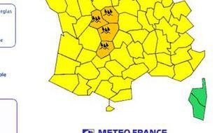 La carte de vigilance météo du jeudi 10 juin 2010.