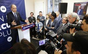 Le candidat à la primaire de la droite et du centre Jean-François Copé, le 31 mai 2016 lors de l'inauguration de son local de campagne à Paris.