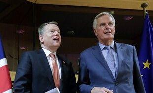 David Frost et Michel Barnier (à droite), les négociateurs du Brexit, le 2 mars 2020.