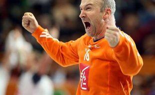 Thierry Omeyer après un arrêt décisif pendant le match Espagne-France du mondial de Handball 2015