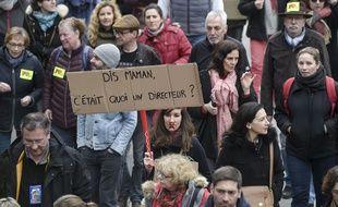 Des enseignants qui manifestent le 19 mars 2019 contre les réformes Blanquer.