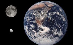 Montage: comparaison des tailles de la Terre, de la Lune et de Cérès.