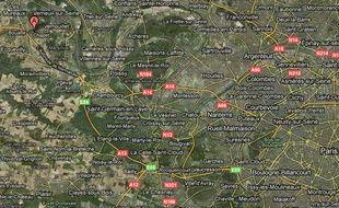 Carte de localisation de Chapet, près des Mureaux, dans les Yvelines.