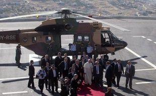 Le pape François à son arrivée en hélicoptère le 25 mai 2014 à Bethléem
