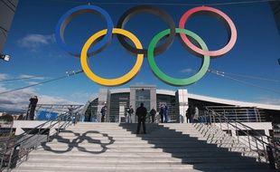 Les anneaux olympiques dans la ville d'Adler, près de Sotchi, le 1er février 2014