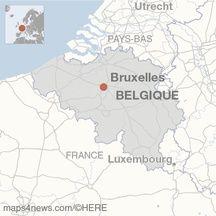 Carte de localisation de Bruxelles (Belgique).