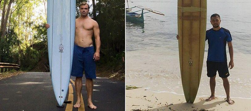 A gauche, une photo prise en octobre 2015 de Doug Falter, surfeur américain, avec sa planche à Hawaii. A droite, la même planche, en 2020, entre les mains du Philippin Giovanne Branzuela.