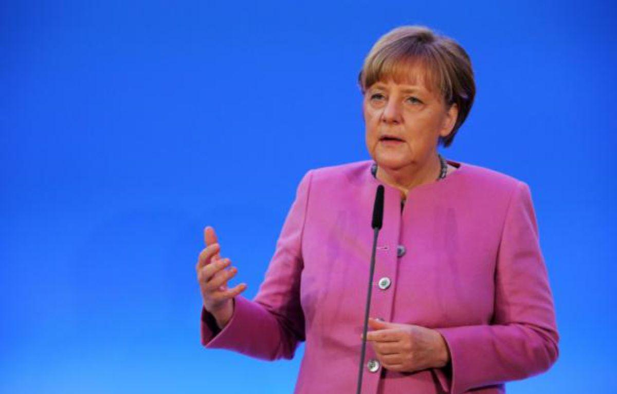 La chancelière allemande Angela Merkel s'exprime devant son parti le CDU, le 8 janvier 2016 à Mayence – Fredrik von Erichsen dpa