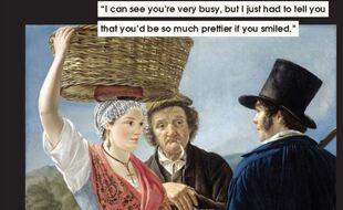 « Je vois bien que vous êtes très occupée, mais il fallait que je vous dise que vous seriez tellement plus jolie si vous vouliez sourire » (Market Gossip, Jean Henri de Coene, 1827)