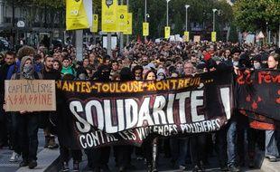 Manifestation en hommage a Remi Fraisse et contre les violences policieres. Nantes le 01 11 2014. :SALOM GOMIS SEBASTIEN/SIPA/