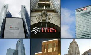 """Combo des enseignes des différentes banques mises en cause dans le cadre des révélations dites des """"Panama papers"""""""