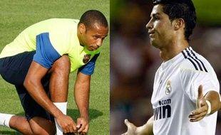 Thierry Henry et Christiano Ronaldo ne participent pas au match de leur sélection le 12 août 2009.