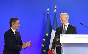 Le ministre de l'Economie, des Finances et de la relance Bruno Le Maire et le nouveau ministre de l'Intérieur Gérald Darmanin, lors de la passation de pouvoirs, le 7 juillet 2020