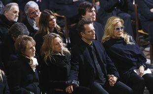Nathalie Baye, Laura Smet, David Hallyday et Sylvie Vartan aux obsèques de Johnny Hallyday le 9 décembre 2017.