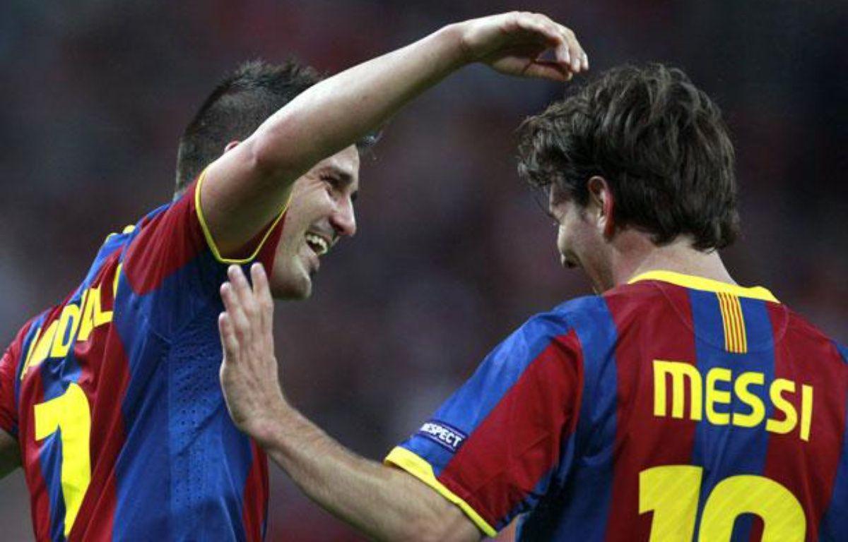 David Villa et Lionel Messi, le 28 mai 2011 à Londres. – E.Keogh / REUTERS