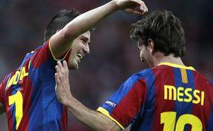 David Villa et Lionel Messi, le 28 mai 2011 à Londres.