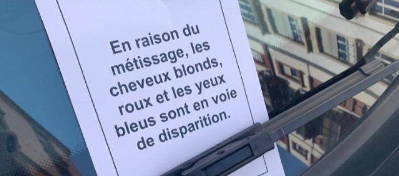 Les tracts anonymes ont été déposés vendredi 19 avril dans des rues de Strasbourg.