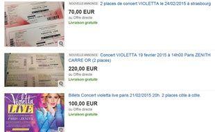 Revente de places pour les concerts de Violetta sur ebay
