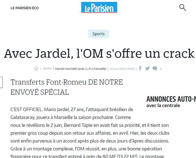 Capture d'écran du faux-transfert de Jardel