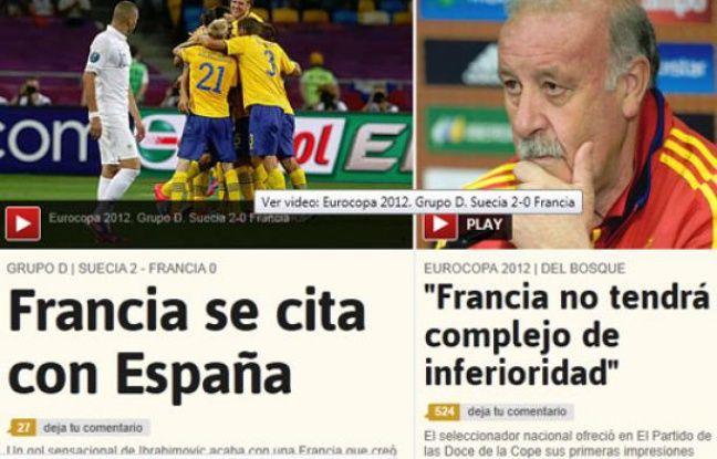 La une du site internet de AS après la défaite de la France contre la Suède, le 20 juin 2012.