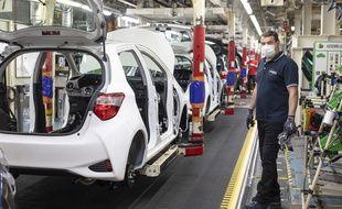 Dans l'usine Toyota à Valenciennes, le 28 avril 2020.